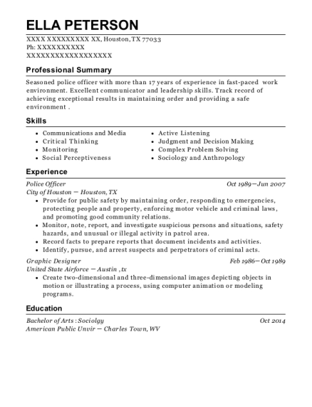 Police Officer resume example Texas