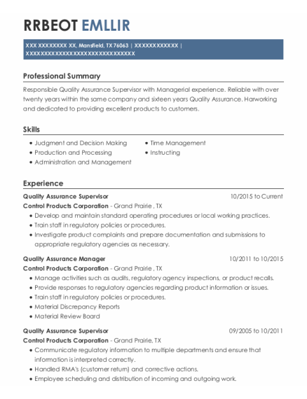 Quality Assurance Supervisor resume template Texas