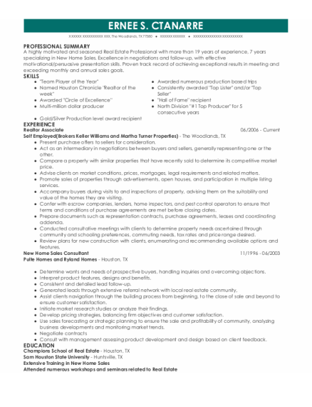 Realtor Associate resume template Texas