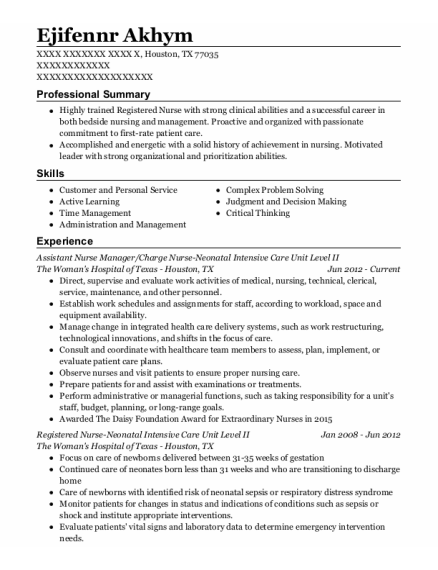 Assistant Nurse Manager resume sample Texas