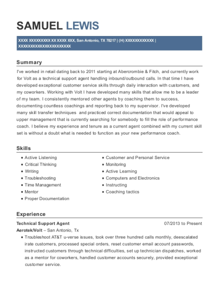 Technical Support Agent resume format Texas