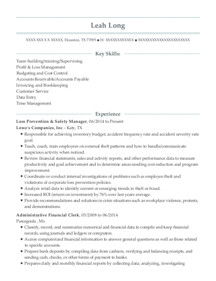 Loss Prevention & Safety Manager resume template Texas