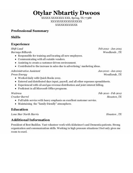 Shift Lead resume sample Texas