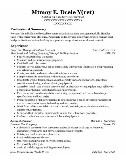 Facilities Assistant resume example Texas