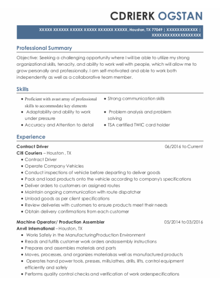 Contract Driver resume format Texas