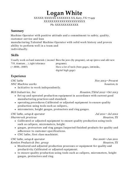 CNC lathe resume sample Texas