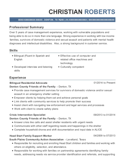 Bilingual Residential Advocate resume template Texas