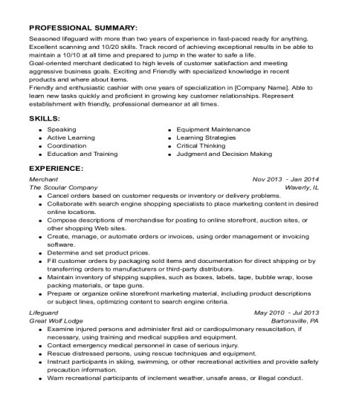 Merchant resume template Texas