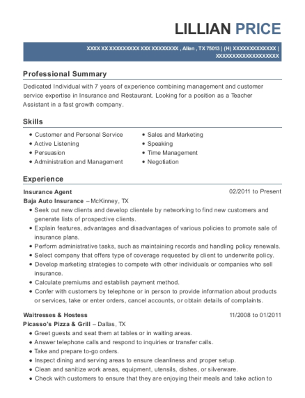 Insurance Agent resume template Texas