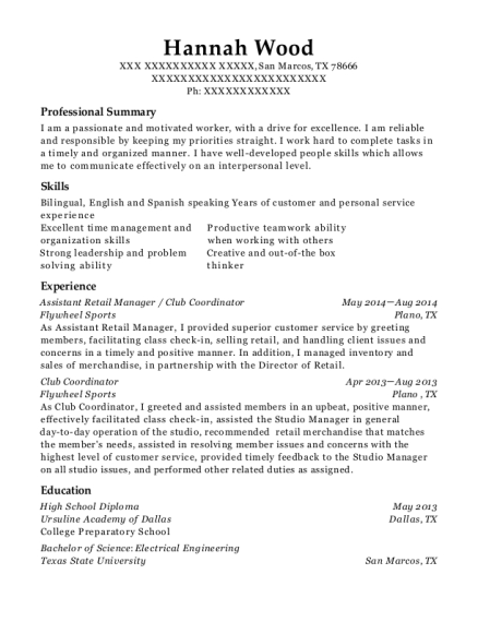 Assistant Retail Manager resume template Texas