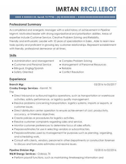 Estimator resume example Texas