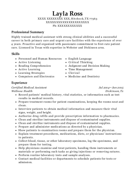 Certified Medical Assistant resume format Texas