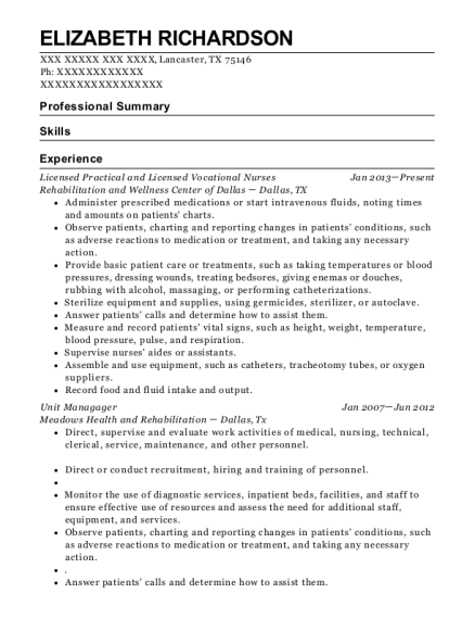 Licensed Practical and Licensed Vocational Nurses resume template Texas