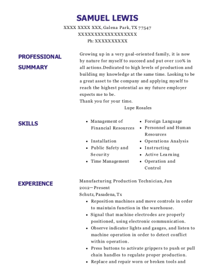 Manufacturing Production Technician resume sample Texas