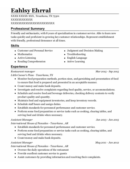 Restaurant Manager resume template Texas