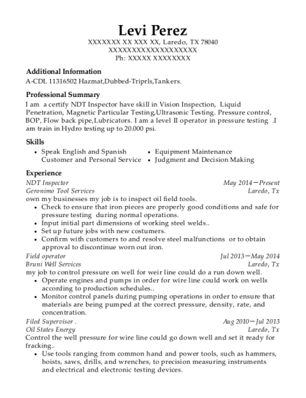 NDT Inspector resume example Texas