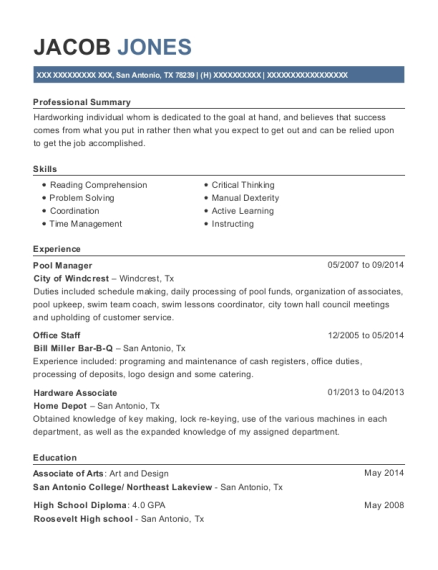 Pool Manager resume template Texas
