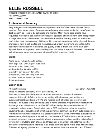 Physical Therapist resume format Texas