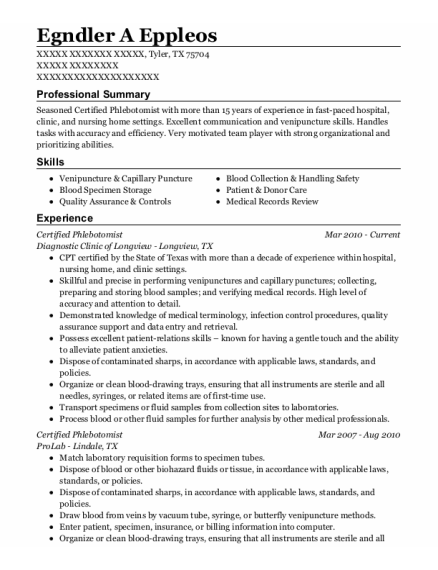 Certified Phlebotomist resume template Texas