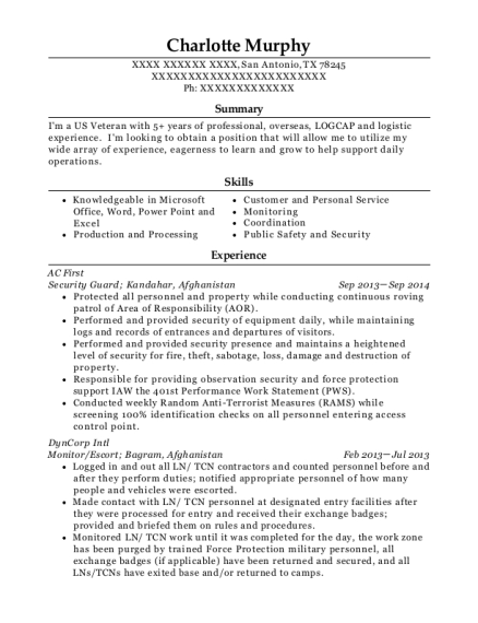Security Guard resume example Texas