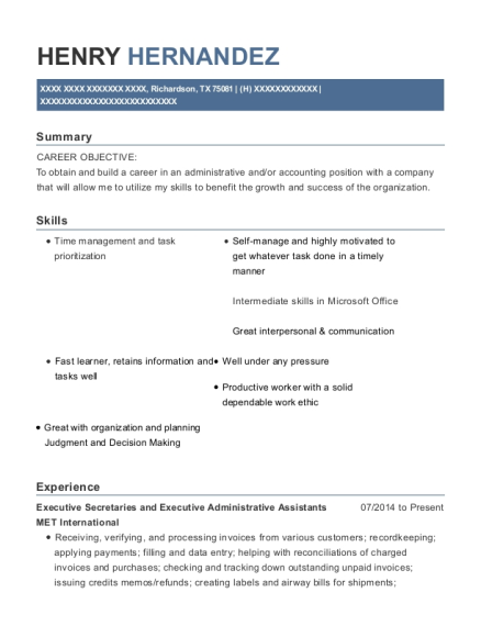 Executive Secretaries and Executive Administrative Assistants resume template Texas