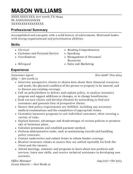 Insurance Agent resume sample Texas
