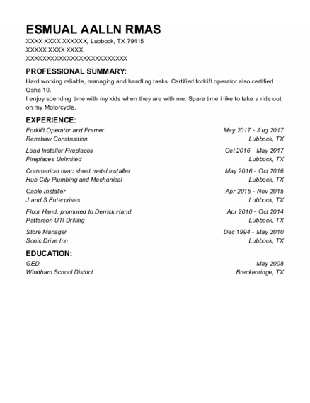 Cable Installer resume format Texas