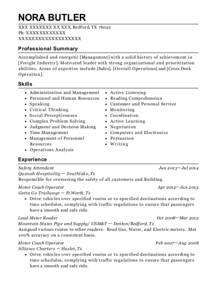 Safety Attendant resume format Texas