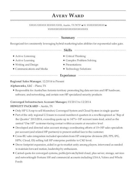 Regional Sales Manager resume example Texas