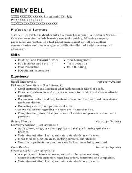 Retail Salespersons resume template Texas