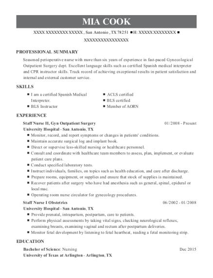 Staff Nurse II resume example Texas