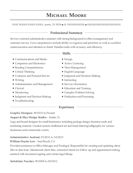 Graphic Designer resume template Texas