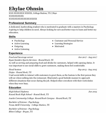 Food And Beverage Server resume example Texas