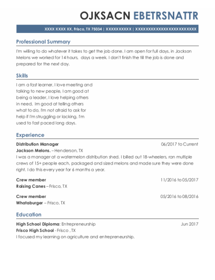 Distribution Manager resume example Texas