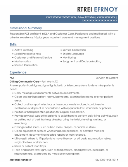 PCT resume template Texas