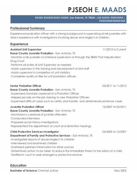 Juvenile Probation Officer resume format Texas