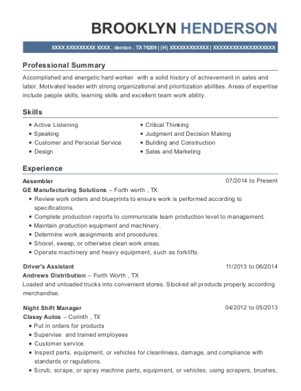 Assembler resume template Texas
