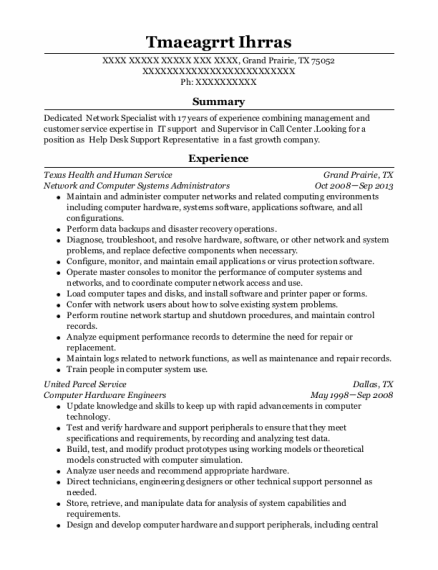 Network And Computer Systems Administrators resume template Texas