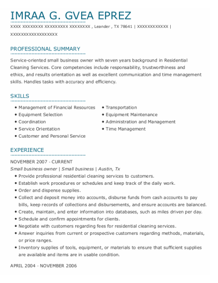 Small Business Owner resume sample Texas