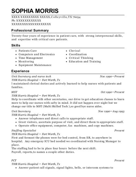 Unit Secretary and nurse tech resume template Texas