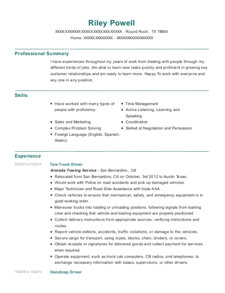 Professional Towing Tow Truck Driver Resume Sample