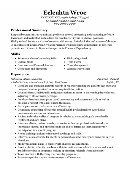 Substance Abuse Counselor resume format Texas