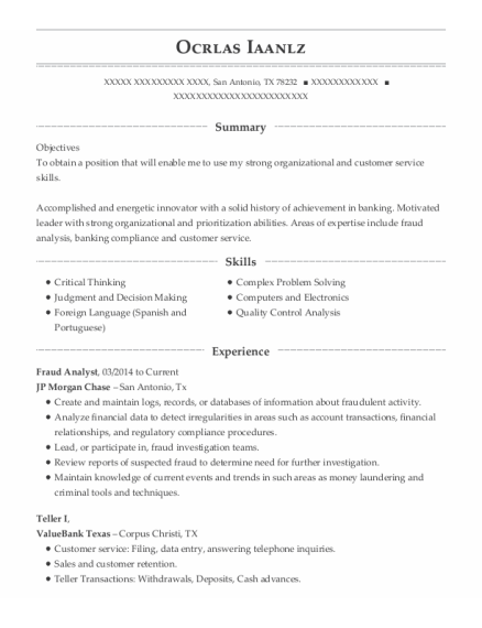 Fraud Analyst resume template Texas