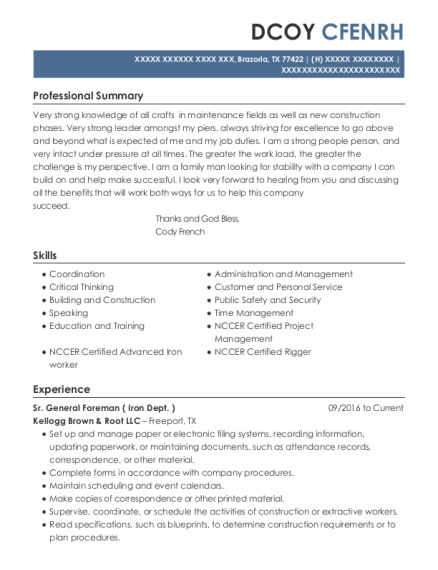 Maintenance Lead resume template Texas