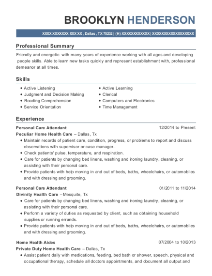 Personal Care Attendant resume format Texas