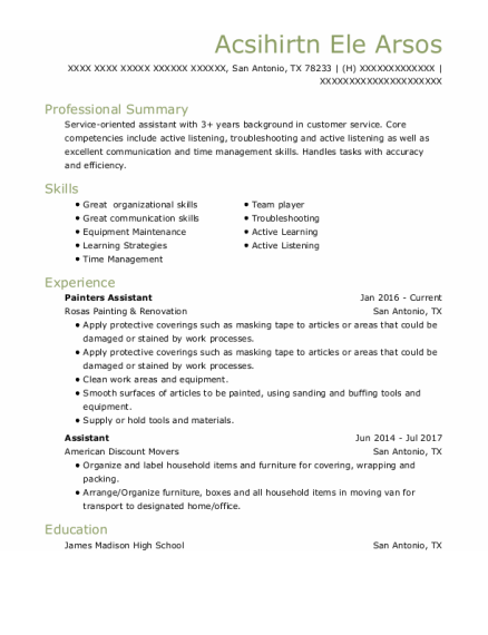 Painters Assistant resume format Texas