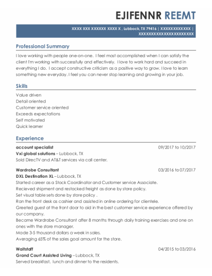 Account Specialist resume example Texas