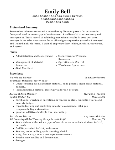 Warehouse Worker resume example Texas