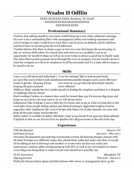 Shop Forman resume sample Texas