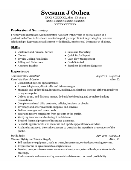 Administrative Assistant resume example Texas